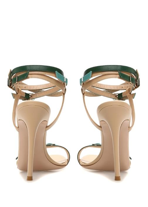 Cassandra Bej Yeşil Kadın Deri Sandalet