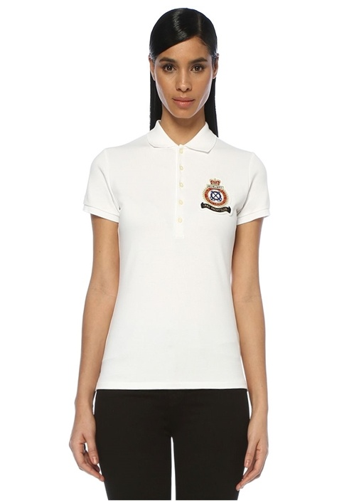 Slim Fit Beyaz Logo Patchli Polo T-shirt