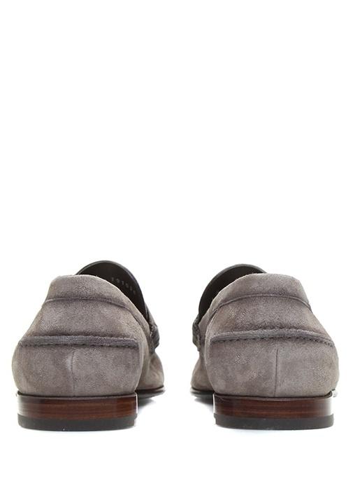 Bej Dekoratif Dikiş Detaylı Erkek Süet Loafer