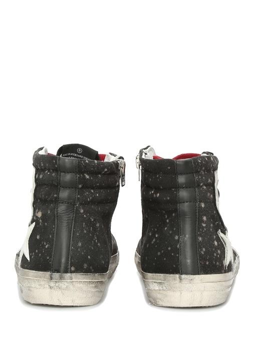 Slide Siyah Fırça Darbeli Bilek Boy Erkek Sneaker