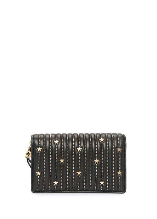Siyah Gold Trok Detaylı Kadın Deri Çanta