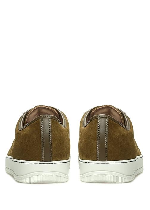 Haki Garni Detaylı Erkek Deri Sneaker