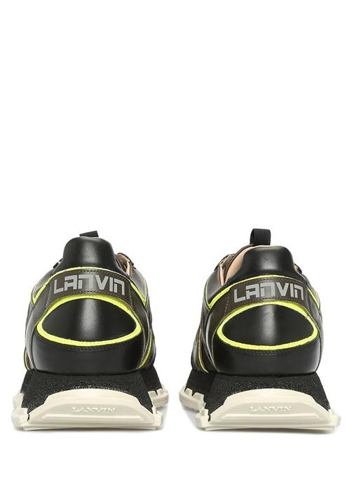 Siyah Yeşil Taban Detaylı Erkek Deri Sneaker