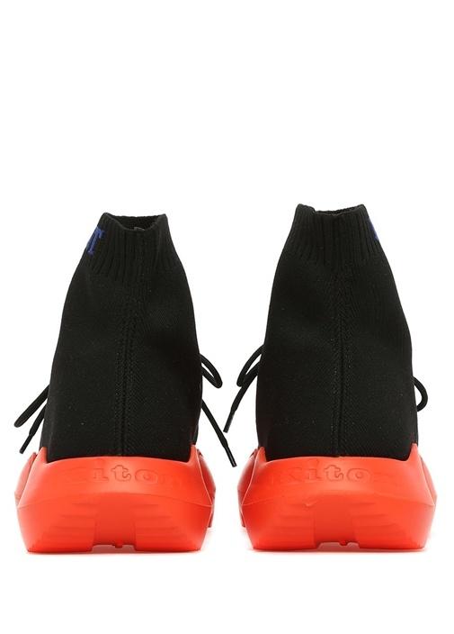 Siyah Turuncu Çorap Formlu Ribli Erkek Sneaker