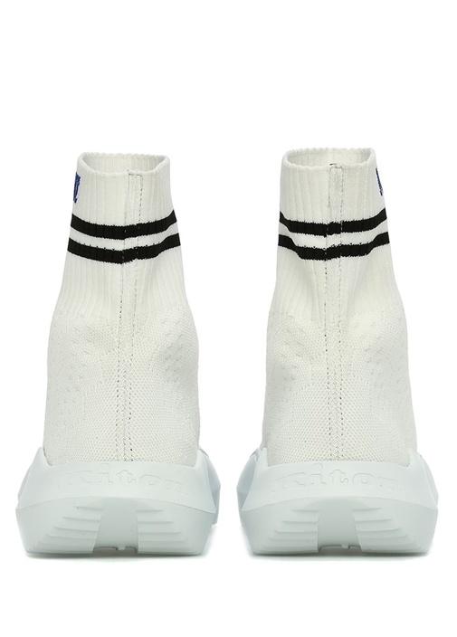 Beyaz Logo Jakarlı Çorap Formlu Erkek Sneaker