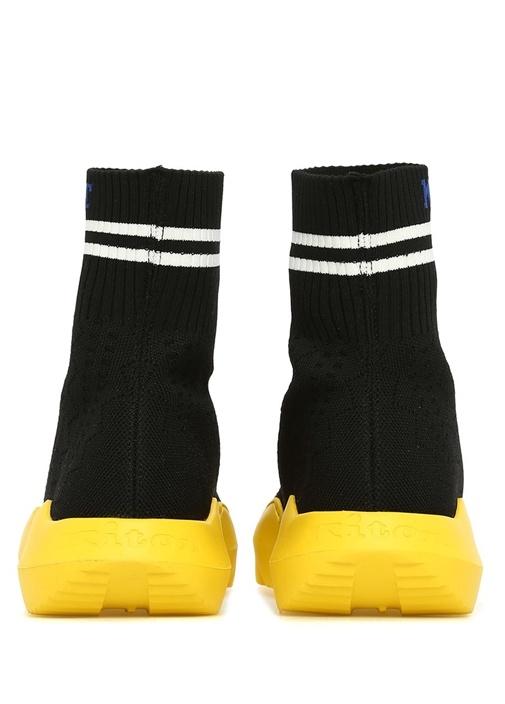 Siyah Sarı Logo Jakarlı Çorap Formlu Erkek Sneaker