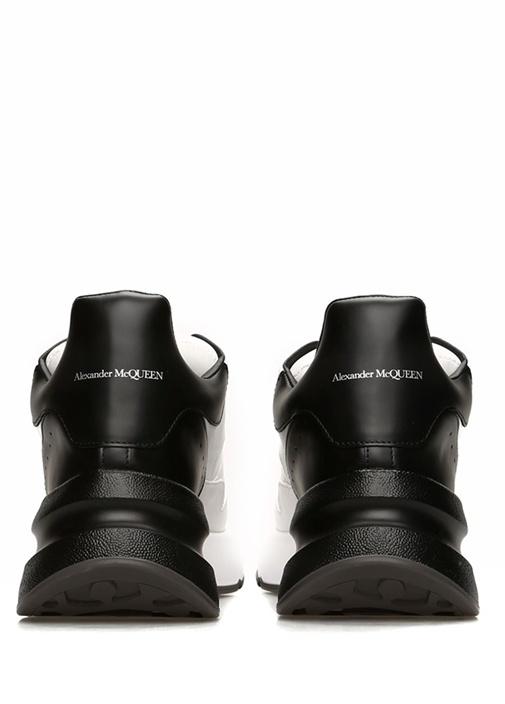 Oversize Beyaz Siyah Kadın Deri Sneaker