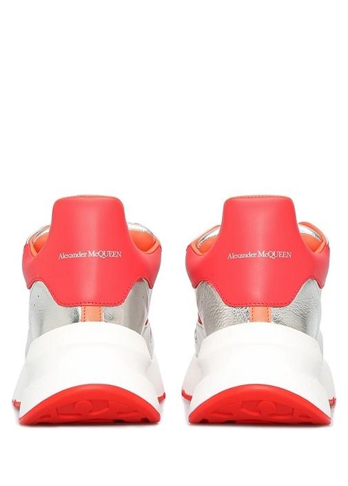Oversize Silver Pembe Kadın Deri Sneaker