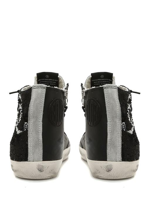 Francy Siyah Pulpayet İşlemeli Kadın Deri Sneaker