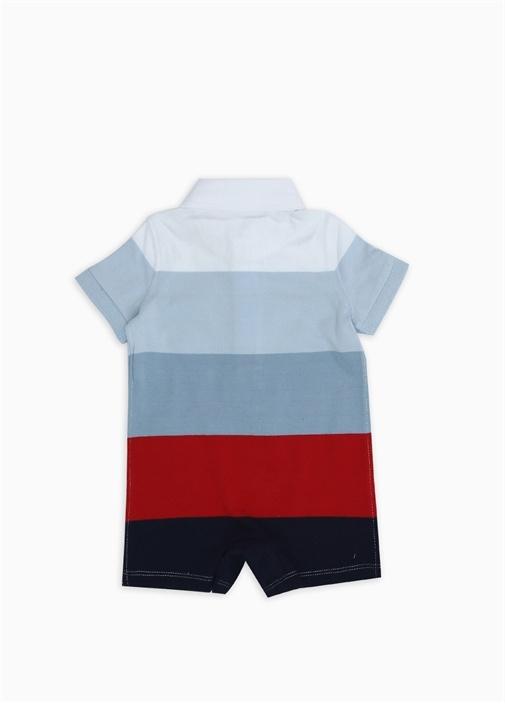 Mavi Kırmızı Çizgili 3'lü Erkek Bebek Hediye Seti