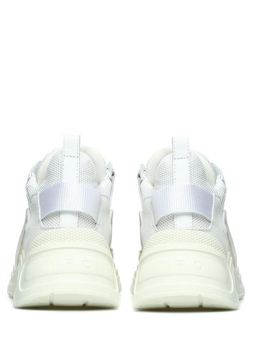 Beyaz Pembe File Dokulu Kadın Deri Sneaker