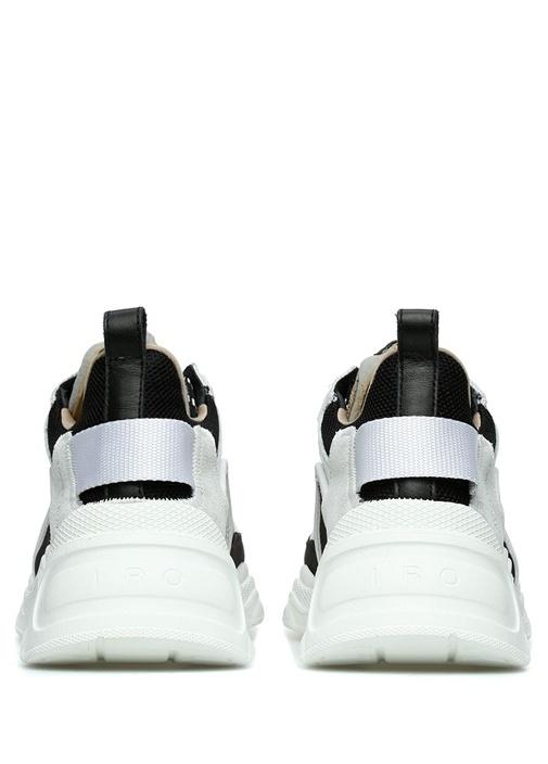 Siyah Bej File Dokulu Kadın Deri Sneaker
