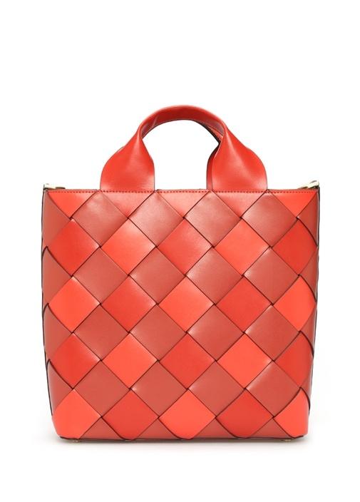 Mott Kırmızı Patchwork Detaylı Kadın Deri Çanta