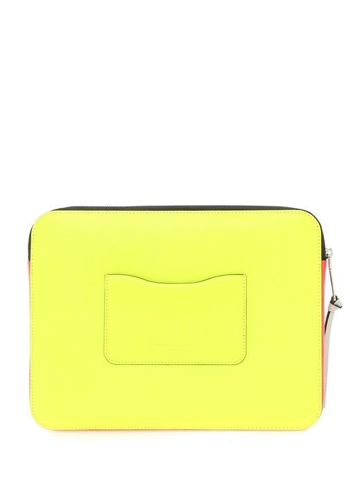 Neon Sarı Pembe 13 Inch Kadın Deri Laptop Kılıfı