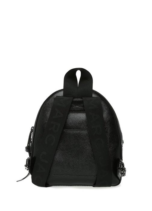 Pack Shot Siyah Logolu Kadın Deri Sırt Çantası