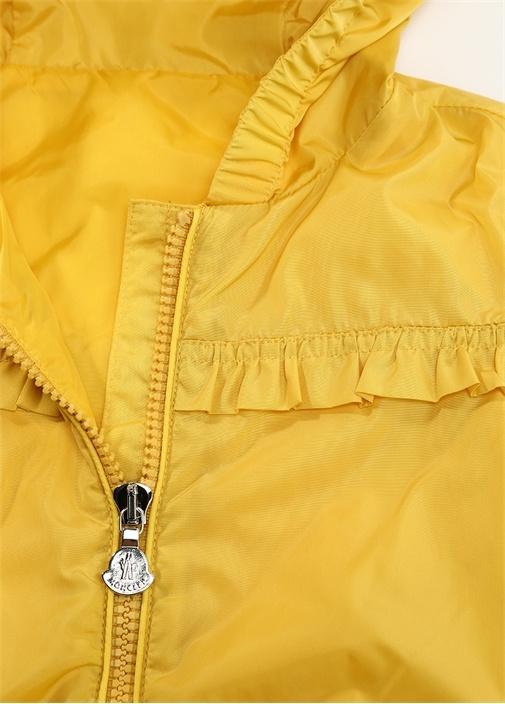 Sarı Kapüşonlu Fırfırlı Kız Çocuk Mont
