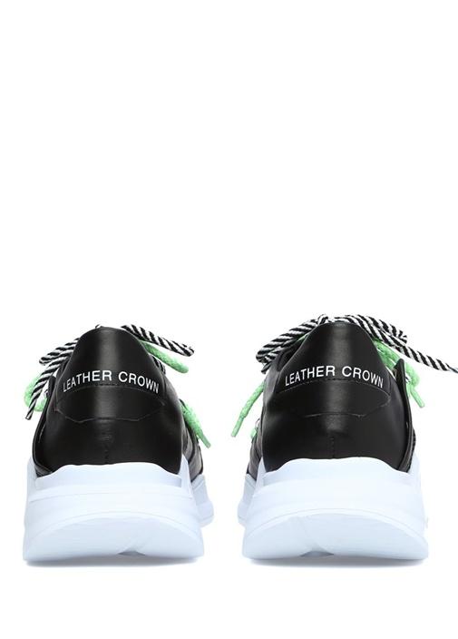 Siyah Logolu Renk Detaylı Erkek Deri Sneaker
