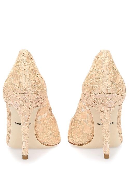 Taormina Pudra Dantelli Topuklu Ayakkabı