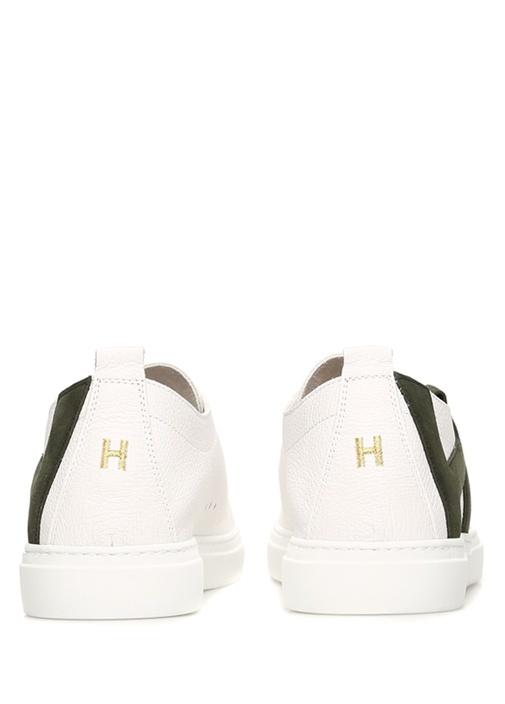 Andy Beyaz Haki Logolu Erkek Deri Sneaker