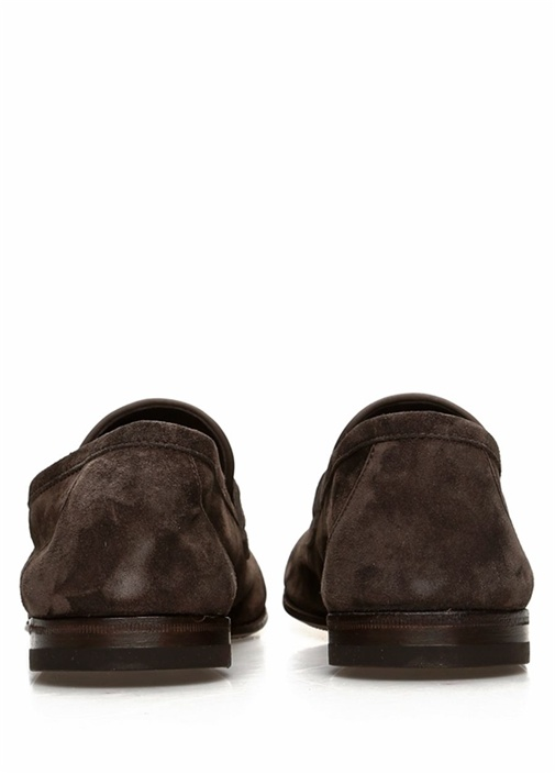 Kahverengi Bant Detaylı Erkek Süet Loafer