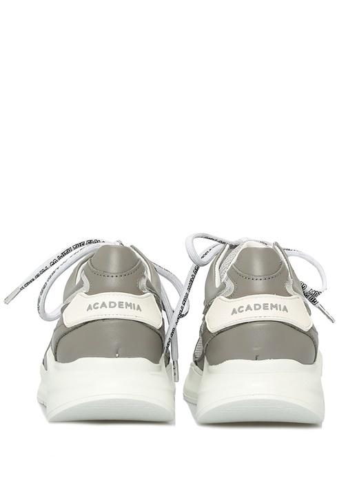 Gri File Dokulu Kadın Deri Sneaker
