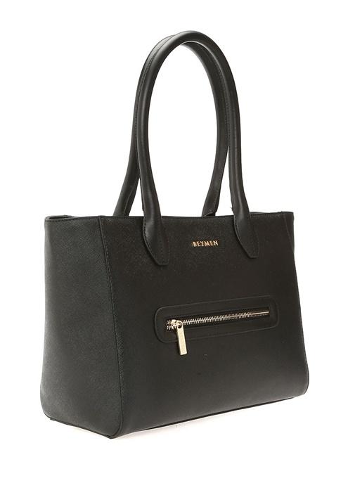 Siyah Gold Logolu Kadın Çanta