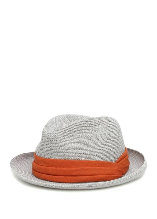 Gri Turuncu Hasır Dokulu Erkek Şapka
