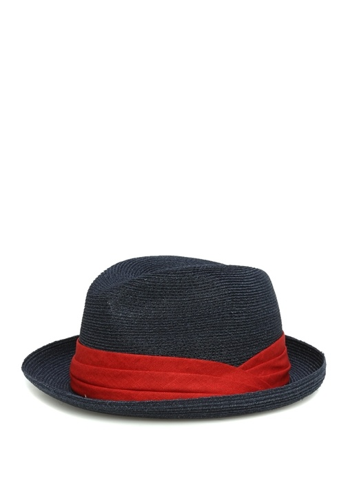 Lacivert Kırmızı Hasır Dokulu Erkek Şapka