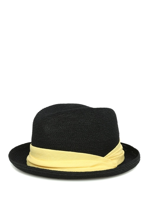 Siyah Sarı Hasır Dokulu Erkek Şapka