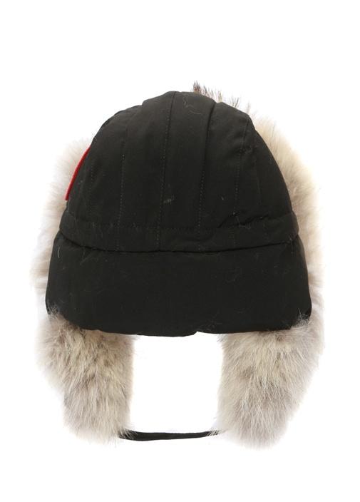 Siyah Peluş Detaylı Erkek Şapka