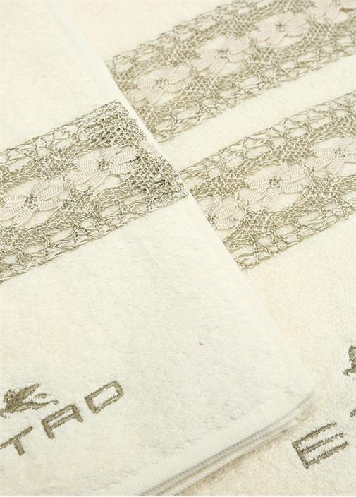 Beyaz Dokulu Güpür Şeritli 2li Havlu Seti