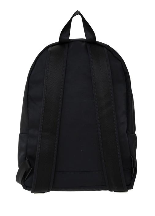 Siyah Kontrast Şerit Logolu Erkek Sırt Çantası