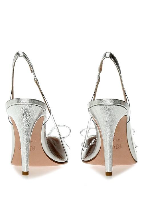 Silver Transparan Detaylı Deri Sandalet