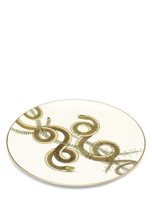 Snakes Beyaz Gold El Yapımı Dekoratif Tabak