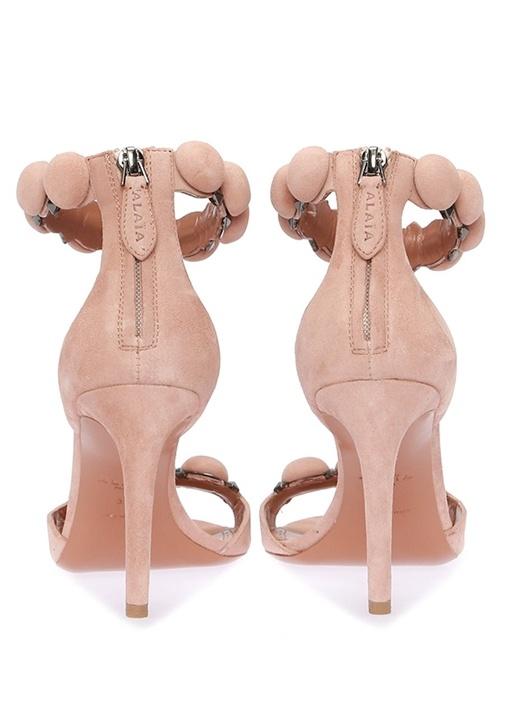 Pembe Süslü Troklu Kadın Nubuk Sandalet