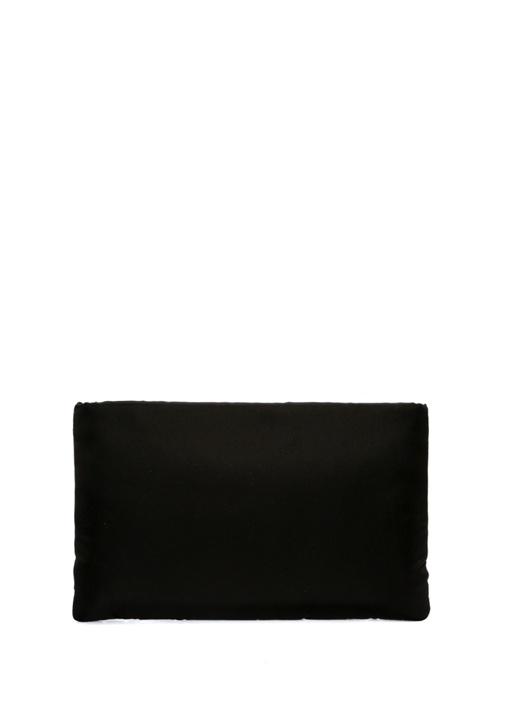 Siyah Taş İşlemeli Logolu Kadın El Portföyü