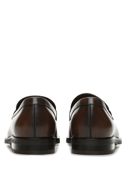 Kahverengi Logolu Erkek Deri Loafer