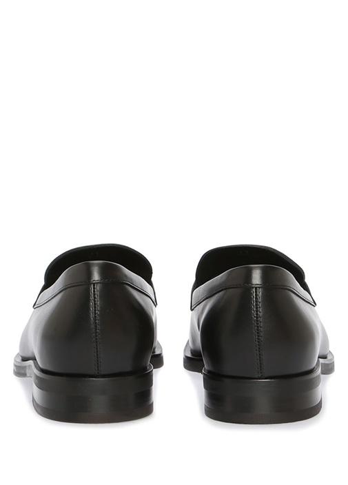 Siyah Metal Logolu Erkek Deri Loafer
