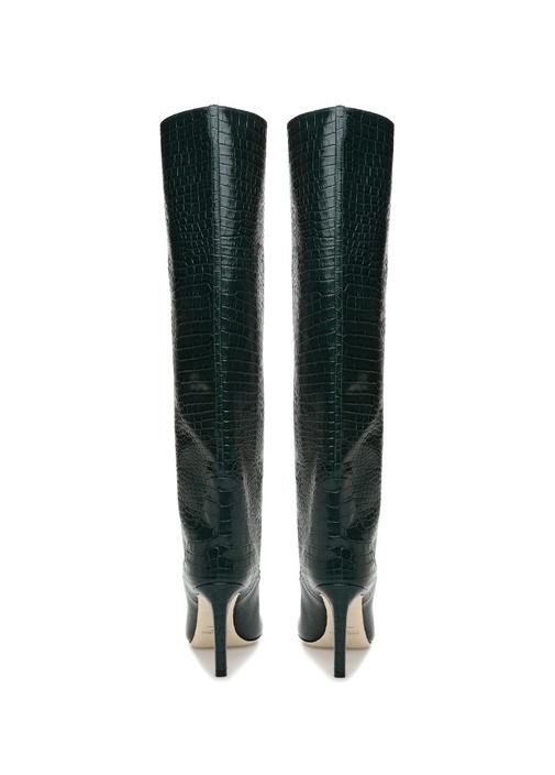 Mavis Haki Krokodil Desenli Kadın Deri Çizme