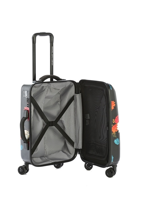 Supply Small Siyah Çiçekli Kabin Boy Bavul