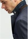 Mavi Kelebek Yaka Çizgi Desenli Ceket