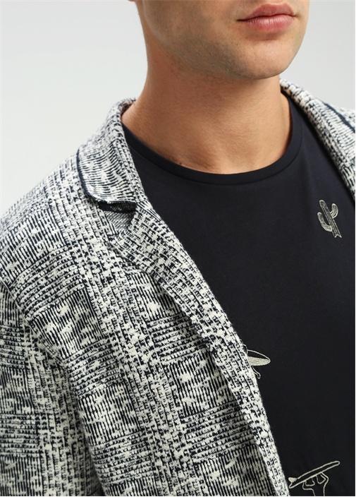 Lacivert-Beyaz Ekose Triko Ceket