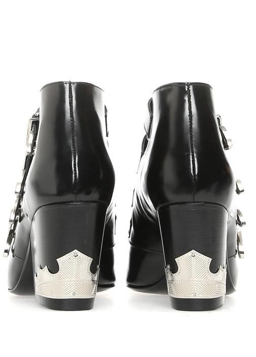 Siyah Deri Topuklu Kadın Bot