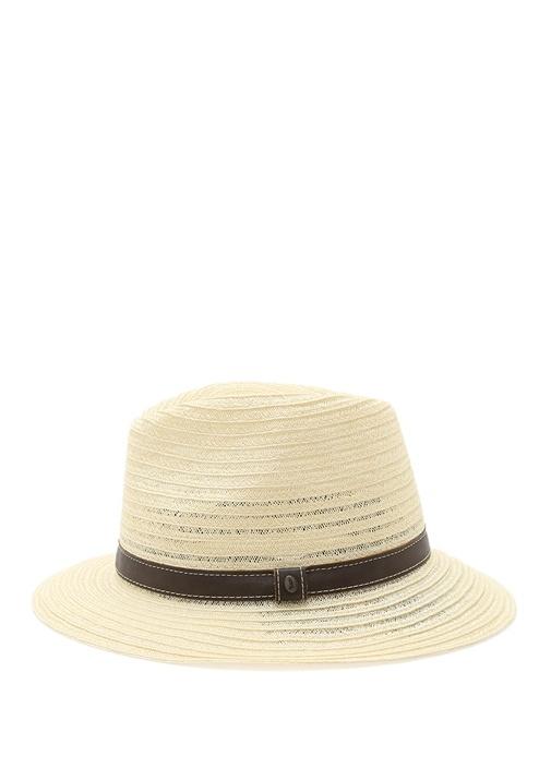 Krem Deri Şeritli Erkek Hasır Şapka