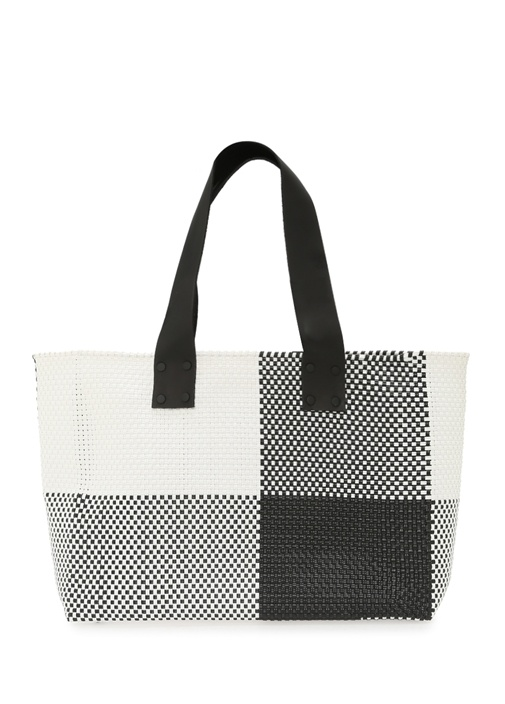 Siyah Beyaz Kadın Deri Çanta