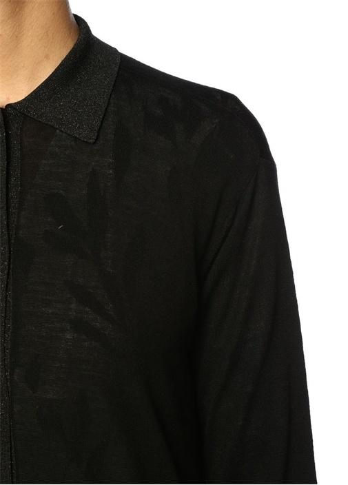 Siyah Simli Gömlek Yaka Midi Triko Elbise