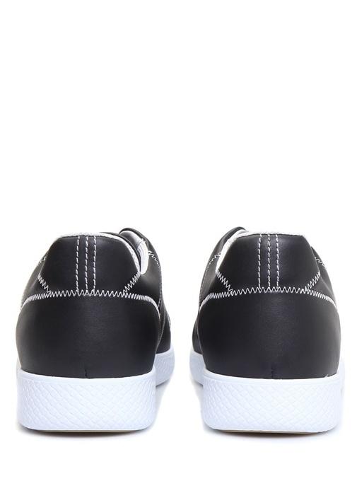 Siyah Dekoratif Dikiş Detaylı Erkek Deri Sneaker