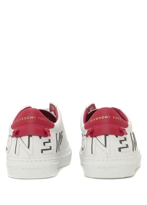 Beyaz Renk Detaylı Logolu Kadın Deri Sneaker