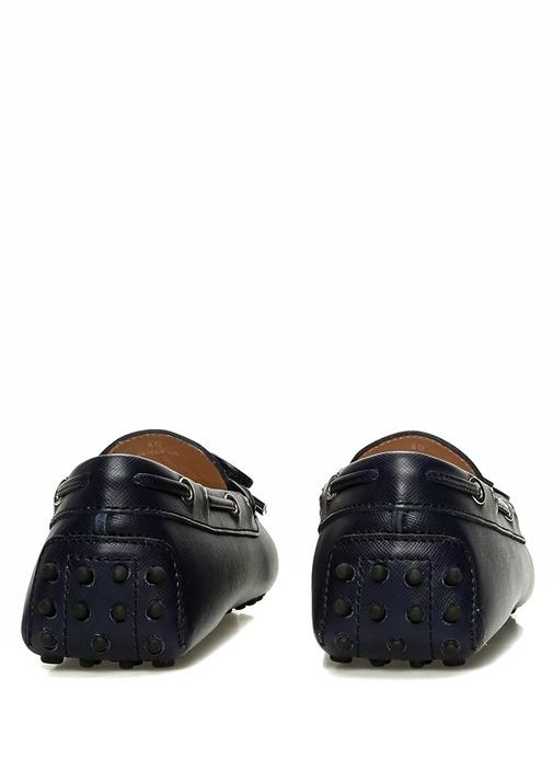 Lacivert Fiyonklu Silver Logolu Kadın Deri Loafer