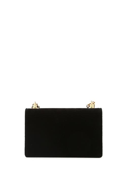 Siyah Logolu Kadın Kadife Çanta